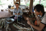 Preparing rattan for a local dish