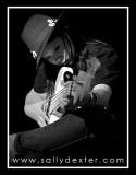 studio jam session in black and white