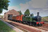 1450 shunting wagons at Dunster goods depot.