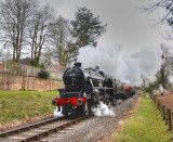 45321 leaving Crowcombe Heathfield on the goods train to Minehead - West  Somerset Railway.