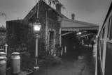 Dunster station at night.