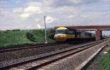 Class 43193  YORKSHIRE POST approaching Thirsk at 125mph 1987.