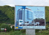 Billboard of the Europa Grand Hotel, where I had a reservation for the night