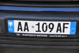 The new blue style Albanian license plate without region codes