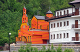 Dobrun Monastery with its bright red gatehouse