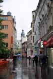 A rainy day along Sarajevo's pedestrianized Ferhadija Street