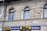 Battle damage still visible along main street, Konjic