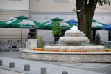 Fountain square and pleasant outdoor cafes, Konjic