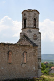 Church ruins with a reconstructed bell tower