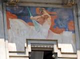 Fresco on the old cinema, Piazza Ferretto