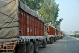 Indian trucks backed up waiting to cross into Pakistan