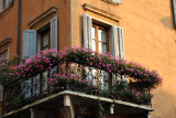 Balcony with flowers, old town Verona