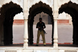 Guard in the Hazuri Bagh Baradari during Friday Prayers at the Badshahi Mosque