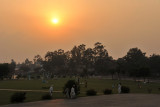 Sunset in the hazy skies of Lahore - Iqbal Park