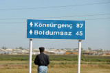 Driving to Konye-Urgench from the border city of Daşoguz