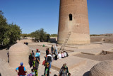 Local tourists gathered around the base of the Gutlug Timur Minaret, Old Urgench