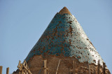 Conical tiled roof of the Sultan Tekesh Mausoleum