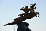 Statue of a mounted archer opposite the Ruyýet Palace, Daşoguz