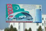 Billboard with a quote from Turkmenistan's president, Gurbanguly Berdimuhamedow
