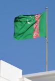The five carpet-like seals represent the 5 regions (wilayat) of Turkmenistan