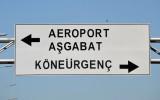 Sign for Dashoguz Airport and the roads to Ashgabat and Konye-Urgench