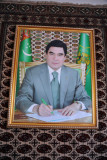 Official portrait of the President of Turkmenistan at a hotel in Daşoguz