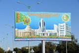 Billboard with monuments of Ashgabat, Daşoguz