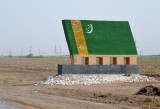 Flag of Turkmenistan along the highway