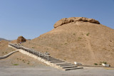 A large mound of dirt, once one of the 43 towers fortifying the walls of Old Nisa