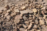 Remains of ancient bricks at an excavation site inside the Giaur Kala