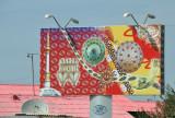 Billboard with various Turkmen motifs