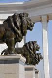 Lions on the steps of the National Library of Turkmenistan