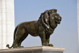 Lion in front of the National Library, Ashgabat