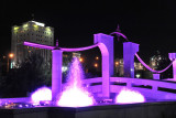 Colorful fountains surround nearly the entire perimeter of Independence Park