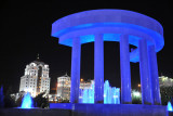 Independence Park fountain bathed in blue