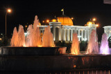 The Great Turkmenbashy Cultural Center at night