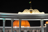 Gateway to the Turkmenistan Cultural Center at night