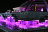 Colorful fountains around the Independence Monument