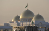 Three gold domes of the Presidential Administration of Turkmenistan