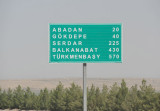 Distances from Ashgabat to cities in western Turkmenistan