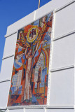 Mosaic on a building in central Ashgabat