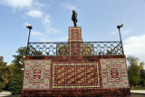 Lenin perched atop a dias made in the style of Turkmen carpets
