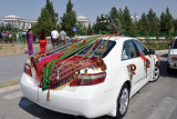 Car decorated for a Turkmen wedding