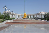 Turkmenbashy statue in a park near the Kipchak Mosque