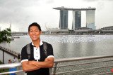 Dennis with the recently completed Marina Bay Sand Hotel, December 2010