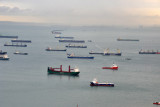 Ships at anchor off Singapore