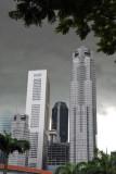 Singapore Skyline looking Black and White