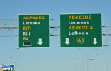 Signs are bilingual Greek-English in the Republic of Cyprus