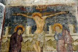 Wall fresco of the Crucifixion, the only feature of interest inside Kolossi