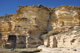 The cliffs of Kourion with niches carved out by the ancient inhabitants